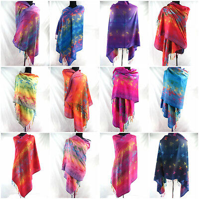wholesale 10pc scarves wraps butterfly rose peacock retro viscose pashmina scarf