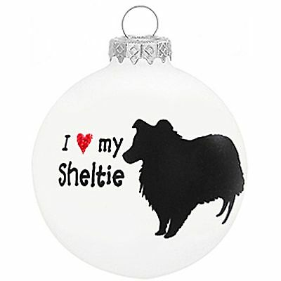 I Love My Sheltie Glass Ornament