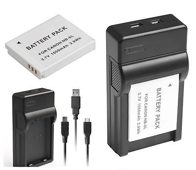 Battery + USB Charger For Canon PowerShot S120 S200 SX170 SX500 IS IXY 32S NB6LH
