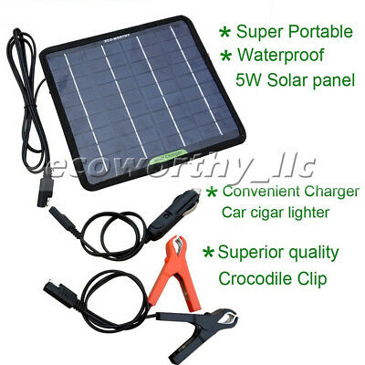 Powerful 12V 5W Watt Portable Solar Panel Battery Charger for Car Boat SUV Home