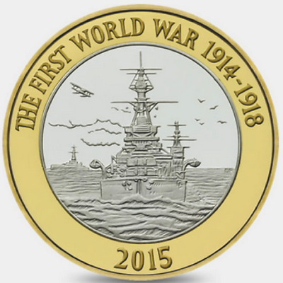 2015 £2 HMS BELFAST WORLD WAR ONE WW1 BRILLIANTLY UNCIRCULATED 30/32 POUND 2 b