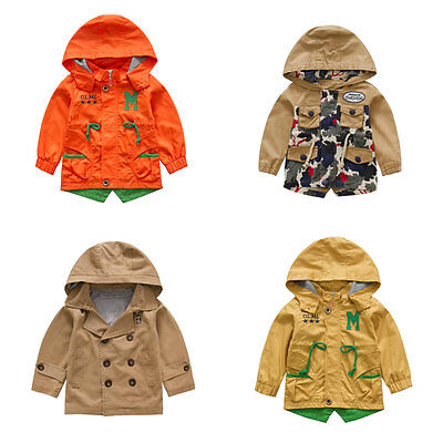 Toddler Boy Trench Coat Wind Coat Double Breasted/ Zip Up Jacket Size 1-6 Years