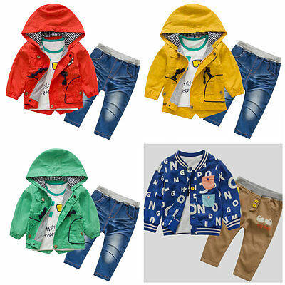 Toddler Boy 3 PC Trench Coat Wind Coat Casual Jacket Set Hoodie Size 1-5 Years