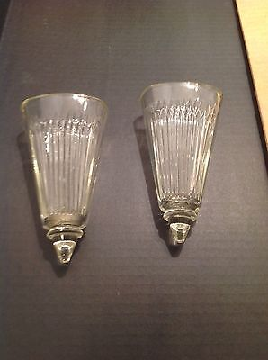 2 Vintage Clear Depression Glass Jeannette Anniversay Wall Pockets Sconce Pair