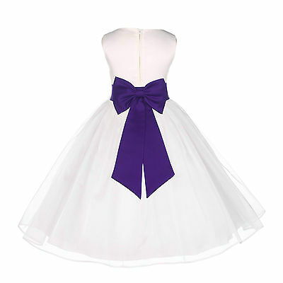 Pretty Satin Organza Dress Flower Girl Birthday Pageant Baptism Easter Recital