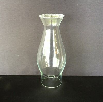 "Glass Oil Lamp Crimp Top Chimney ""E"" - 54mm Base Opening, 175mm tall."