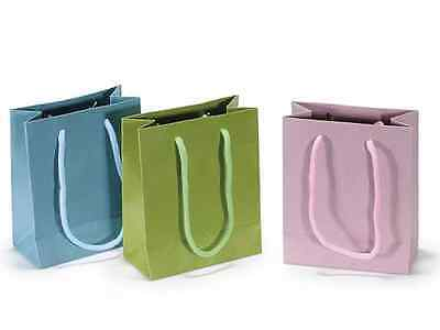 Sacchetto busta regalo carta colorata manici in corda piccola cm11,5x6x14h 36pz