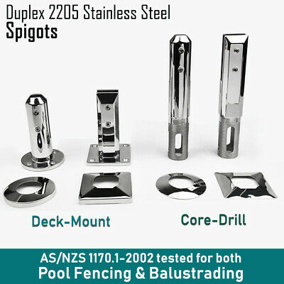 Spigots - Deck or Core Drill Stainless Steel 316L - Frameless Glass Pool Fencing