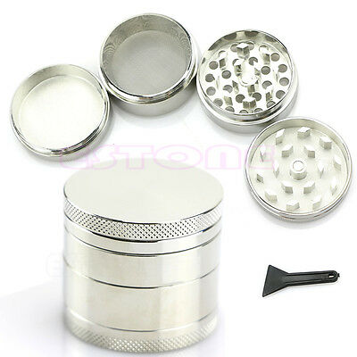 Nice 4 Layers Metal Tobacco Crusher Hand Muller Smoke Herbal Herb Grinder Silver
