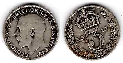1917 3d Silver THREE PENCE threepence thrupence George V (j)