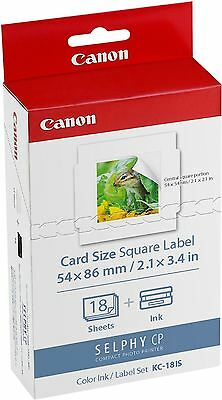 "Canon KC-18IS Selphy 54x86mm 21x3.4"" Square Printer Paper for CP910 & CP900"
