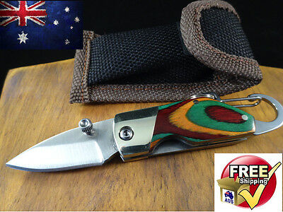 Folding Pocket Knife Fishing Camping Outdoors Carabiner Hunting Tactical Flick