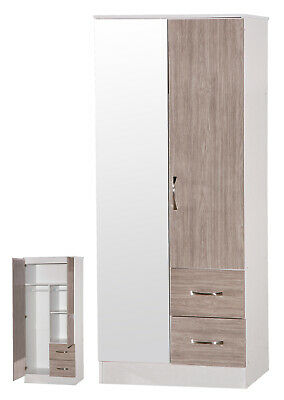 2 Door Wardrobe | 2 Drawers Combi | Grey Oak High Gloss & White Ash