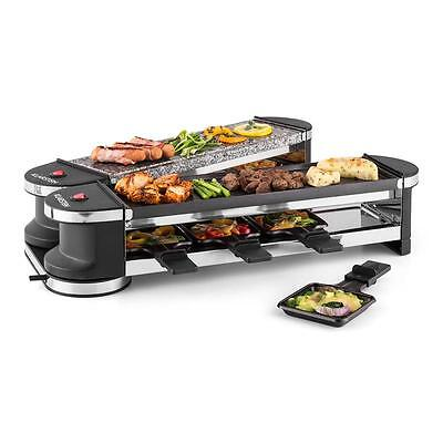 Klarstein Electric Raclette Party Grill Natural Stone 8 People Spatulas Plate