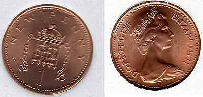 1971 1p UNCIRCULATED One Pence Queen Elizabeth II GB Royal Mint (a)