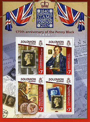 Solomon Islands 2015 MNH Penny Black 175th Anniv Europhilex 4v M/S Rowland Hill