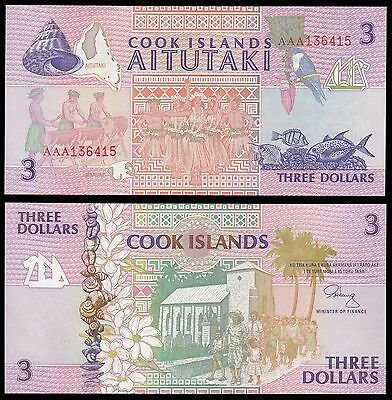 Cook Islands $3 Dollars Banknote, 1992, P-7, UNC, Aitutaki