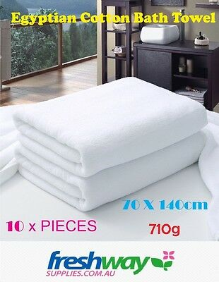 10  Extra Large Bath Towel Pieces Brand New 100% Cotton White 710G, 70 * 140
