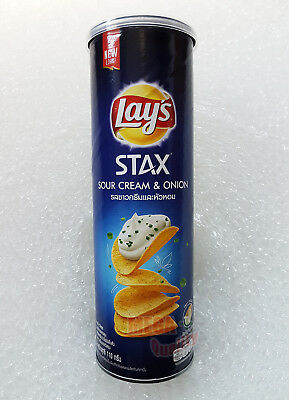 Lays STAX Potato Crisps Crispy Chips Snack - Sour Cream and Onion Flavour 100g