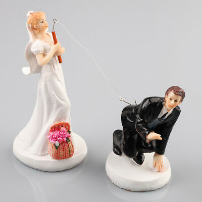 Wedding Cake Toppers Funny, Humorous - Bride and Groom Couple Cake Decoration