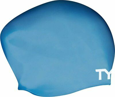 TYR Long Hair Silicone Swim Cap Blue Swimming Caps One Size Fits Most