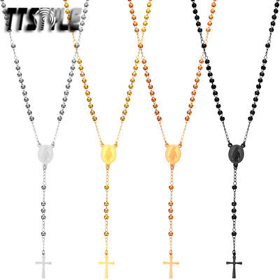 TTstyle 3mm Ball Stainless Steel Rosary Bead Necklace Silver/Gold/Black NEW