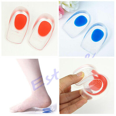 Gel Shoes Pads Cushion Heel Cup Insoles Massager Inserts Heel Spur Pain Silicone