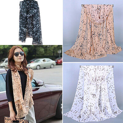 New Arrival Women's Ladies  Musical Note Chiffon Neck Scarf Shawl Muffler Scarf
