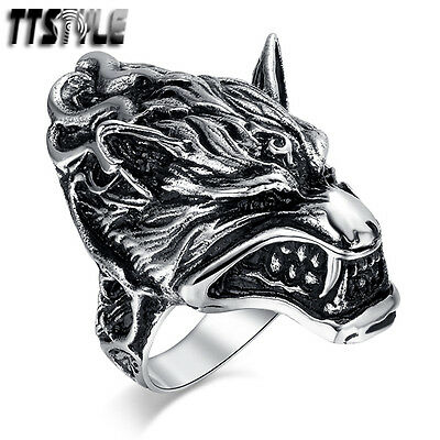 Unisex TTstyle 316L S.Steel 3D Wolf Ring Size 8-13 Available NEW Arrival