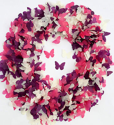 Pink Purple Butterfly Confetti Lavender White Tissue Paper Wedding Decorations