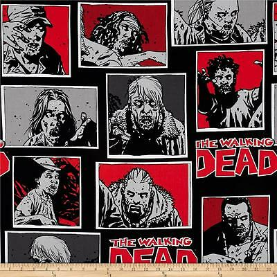 The Walking Dead Zombie Character Black Quilting Fabric 1/2 YARD