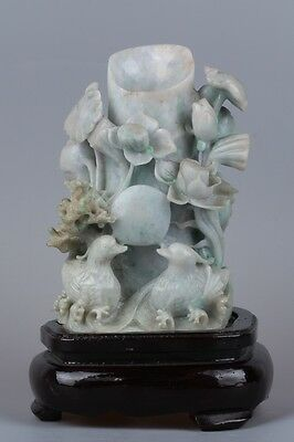 Fine 100% natural jadeite jade hand-carved yuanyang and lotus brush washer
