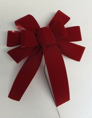 """10 Small 6"""" Hand Made Christmas Bows Brick Red Velvet In/ Outdoor Wreath Ribbon"""