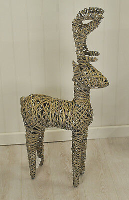 Standing Washed Rattan Christmas Reindeer 120cm Tall / Xmas Decoration Westwoods