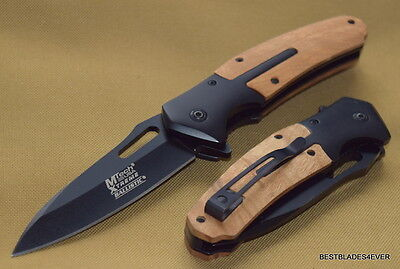 """Mtech Xtreme Tactical Rescue Spring Assisted Knife Black 5"""" Closed 440C Blade"""
