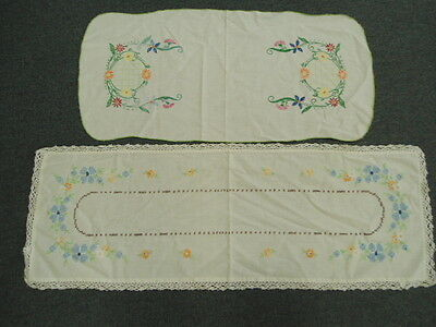 Lot of 2 Vintage Hand Embroidered Table Runners w/ Floral Pattern