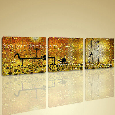 LARGE ABSTRACT Canvas Wall Art Set 3 Pieces Picture HD Print ...