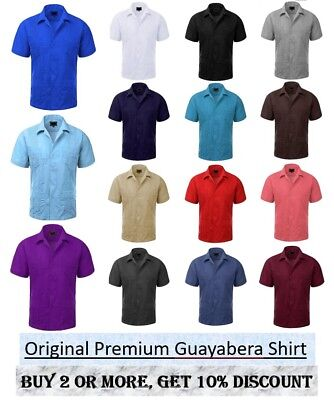 Guayabera Men's Cuban Beach Wedding Short Sleeve Button-Up Casual Dress Shirts