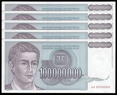 Yugoslavia 100 Million Dinar X 5 Pieces (PCS), 1993, P-124, UNC