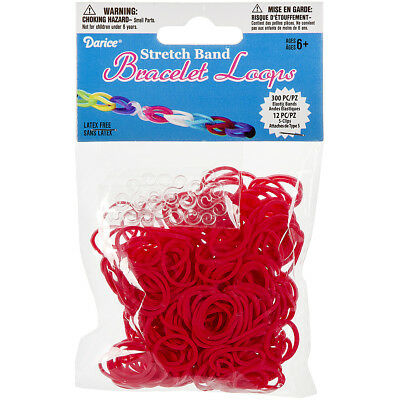 Stretch Band Bracelet Loops 300/Pkg W/12 Clips Red RB1-1001