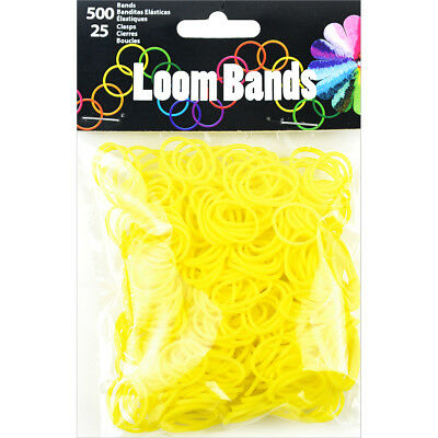Loom Bands 500/Pkg W/25 Clasps Yellow LB506-10