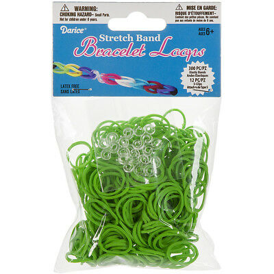Stretch Band Bracelet Loops 300/Pkg W/12 Clips Green RB1-1005