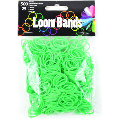 Loom Bands 500/Pkg W/25 Clasps Glow In The Dark Green LB506-50622