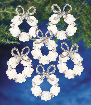 """Holiday Beaded Ornament Kit Frosted Wreath 2.25"""" Makes 16 BOK-7128"""