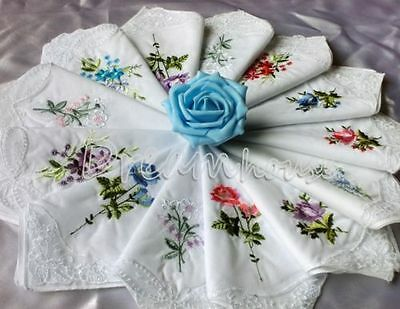 6 Women Cotton Embroidery Floral Lace Butterfly Handkerchiefs Hankies Assorted