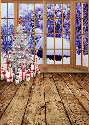 Christmas Tree Snow Window Studio Backdrop Photography Photo Background 5x7ft