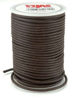 Round Leather Lace 2mmX25yd Spool Brown 5050-2