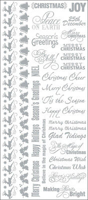 "Fundamentals Foiled Rub Ons 4.5""X10"" Christmas Sentiments/Silver FX48"