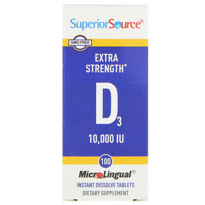 Sublingual Vitamin D3 Tablets 10000IU 100 Tabs | High Absorption Bioavailable