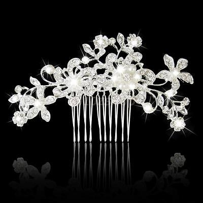 Fermacapelli Fiore Strass Pettine Perla Acconciatura Sposa Matrimonio